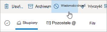 Zrzut ekranu przedstawiający przycisk Wiadomości-śmieci w usłudze Outlook.com