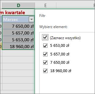 Opcja niestandardowego filtru liczb