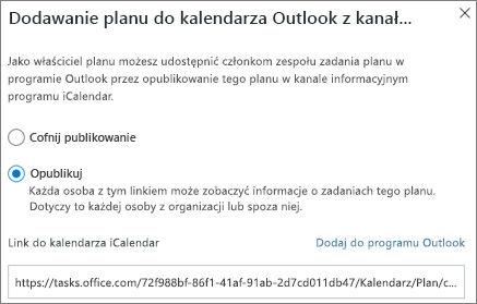 Zrzut ekranu przedstawiający okno dialogowe Dodawanie planu do kalendarza programu Outlook