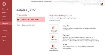 Opcje Zapisz jako bazę danych na ekranie Zapisz jako