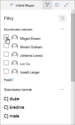 Opcja filtrowania wybrana w widoku listy w nowoczesnym interfejsie programu SharePoint