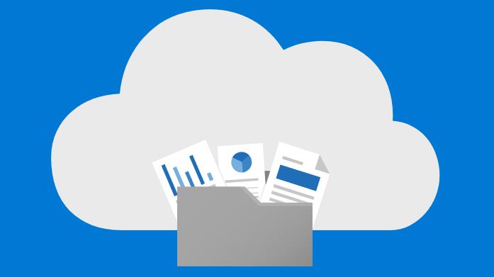 Poglądowa ilustracja przedstawiająca pliki zapisywane w chmurze