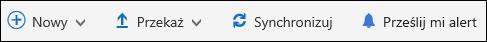 Menu główne biblioteki dokumentów usługi Office 365