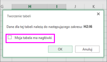 Okno dialogowe konwertowania zakresu danych na tabelę