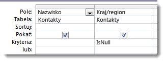 Obraz przedstawiający pole kryterium o wartości null w projektancie zapytań