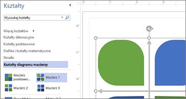 Lista dostępnych kształtów w lewej połowie obrazu i wybrany kształt w prawej połowie