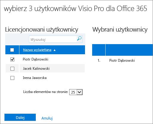 Wybieranie użytkowników, dla których mają zostać usunięte licencje.