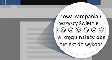 Dokument z powiększonym obszarem przedstawiającym wiele dostępnych symboli emoji