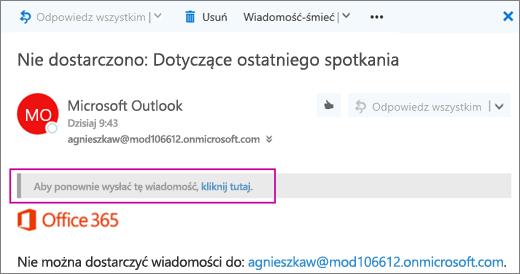 Zrzut ekranu przedstawiający część wiadomości zwróconej Nie można dostarczyć z opcją ponownego wysłania wiadomości.