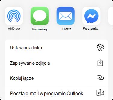 Menu Udostępnij z aplikacjami u góry i listą opcji udostępniania znajdującą się poniżej tych aplikacji.