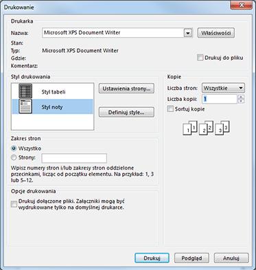 Opcje drukarki w oknie dialogowym Drukowanie w programie Outlook