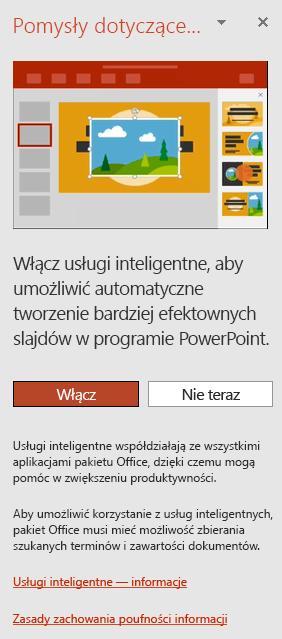 Komunikat początkowy wyświetlany po wywołaniu Projektanta programu PowerPoint