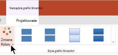 W obszarze Narzędzia grafiki SmartArt wybierz pozycję Zmień kolory, aby otworzyć galerię kolorów