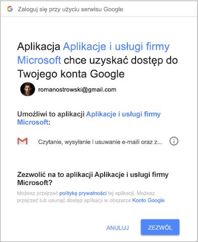 Okno uprawnień dla programu Outlook do uzyskiwania dostępu do konta Gmail