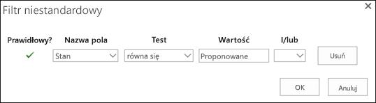 Konfigurowanie filtr dla żądania zasób proponowany