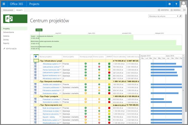 Zrzut ekranu przedstawiający dostosowany widok Centrum projektów.
