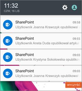 Przykład powiadomienia o wiadomościach na telefonie komórkowym