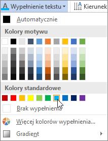 Wybieranie koloru wypełnienia tekstu
