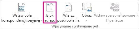 Polecenie Blok adresu korespondencji seryjnej