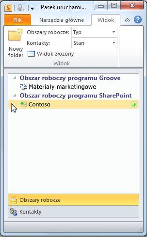 Obszar roboczy programu SharePoint na pasku uruchamiania