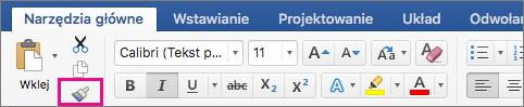 Opcja Kopiuj formatowanie i zastosuj je w innej lokalizacji wyróżniona na karcie Narzędzia główne.