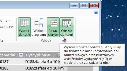 Obszar obliczeń w dodatku PowerPivot
