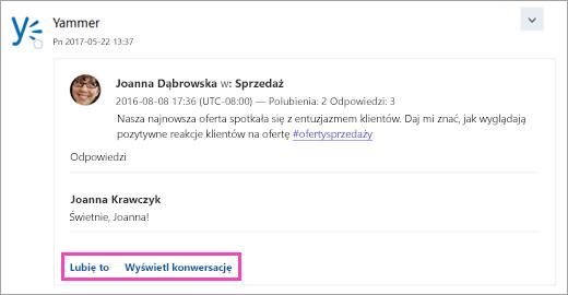 Zrzut ekranu przedstawiający przyciski akcji na karcie usługi połączonej