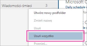 Zrzut ekranu przedstawiający opcję Usuń wszystko