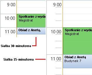 Przykład 30- i 15-minutowej siatki czasu