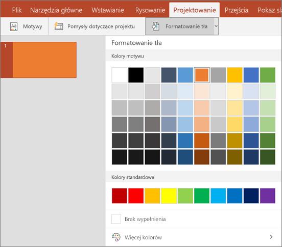 Pokazuje opcje formatowanie tła na karcie Projektowanie w programie PowerPoint.
