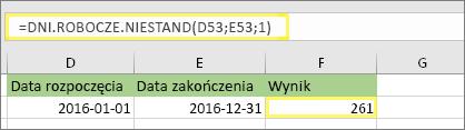=DNI.ROBOCZE.NIESTAND(D53;E53;1) i wynik: 261