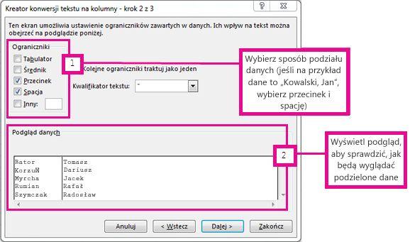 Krok 2 w Kreatorze konwersji tekstu na kolumny