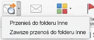 Dwie opcje dostępne w menu Przenieś do innego to: Przenieś do folderu Inne i Zawsze przenoś do folderu Inne