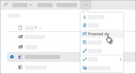 Zrzut ekranu: Przejdź do polecenia w usłudze OneDrive dla firm