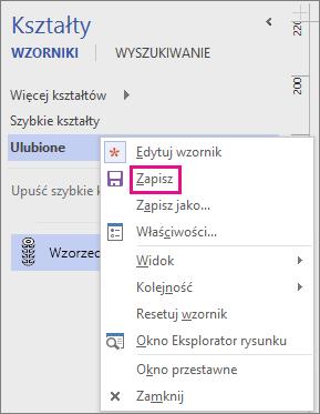 Kliknij prawym przyciskiem myszy nazwę wzornika, aby zapisać dodanie nowego kształtu wzorca.