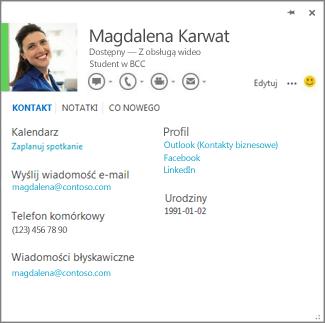 Przykładowa wizytówka otwierana w programie Word po kliknięciu zdjęcia osoby, która dodała komentarz.