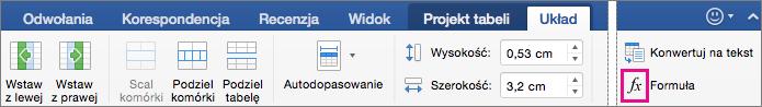 Gdy okno jest szerokie, formuła jest widoczna na samej karcie Układ, a nie w menu Dane.
