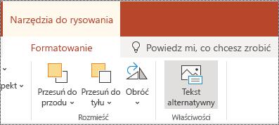 Przycisk tekst alternatywny na Wstążce dla kształtu i klipu wideo w aplikacji PowerPoint Online.
