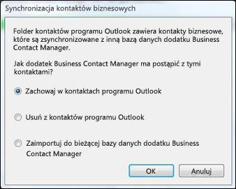 Okno dialogowe synchronizacji kontaktów biznesowych