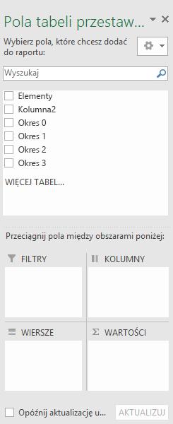 Okienko pól tabeli przestawnej