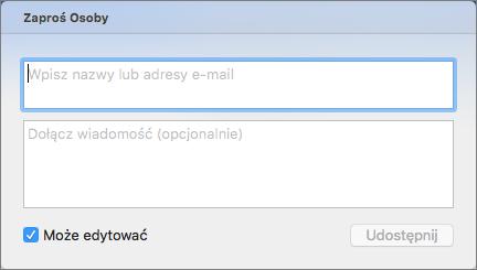 Wprowadź nazwy kontaktów lub adresy e-mail, aby wysłać do nich zaproszenia.