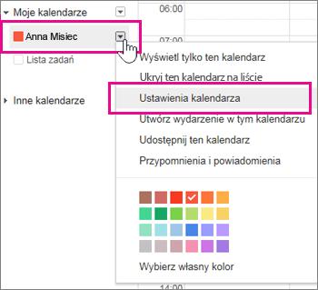 Ustawienia Kalendarza Google