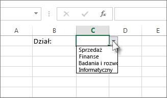 Przykładowa lista rozwijana w programie Excel