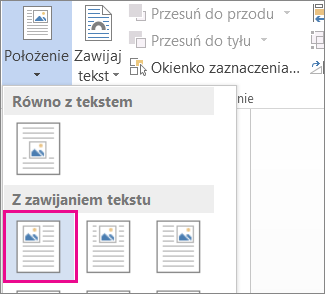 Zawijanie tekstu na górze z lewej