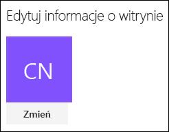Zrzut ekranu przedstawiający okno dialogowe programu SharePoint na potrzeby zmieniania logo witryny.