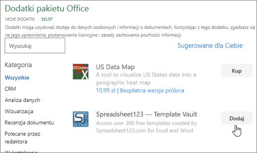Zrzut ekranu zawiera strony dodatków pakietu Office, w którym można wybrać lub Wyszukaj dodatek dla programu Excel.