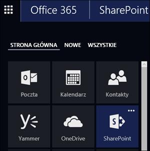 Kafelek programu SharePoint w obszarze Uruchamianie aplikacji usługi Office 365