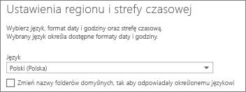 Ustawianie języka aplikacji Outlook Web App i decydowanie, czy zmienić nazwy folderów