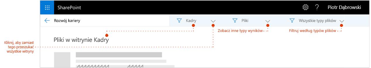 Zrzut ekranu przedstawiający wyszukiwanie strona wyników, Powiększenie na początek wyniki w przypadku, gdy pokazu łącza do stron nadrzędnych witryny, którą wyniki pochodzą z. Wskaźniki filtry.