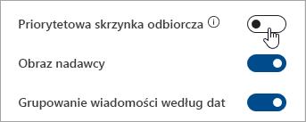 Zrzut ekranu przedstawiający przełącznik Priorytetowej skrzynki odbiorczej w Szybkich ustawieniach